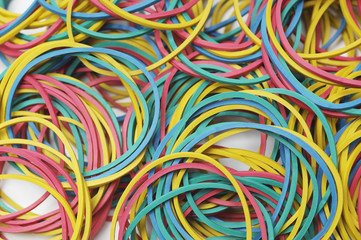Multi colored rubber bands