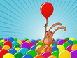 Bunny with balloons background - vector