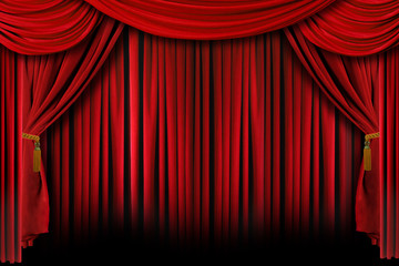 Red Drapes With Deep Shadows