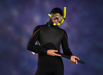 Underwater fisherman in studio