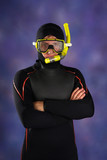 Underwater diver in studio