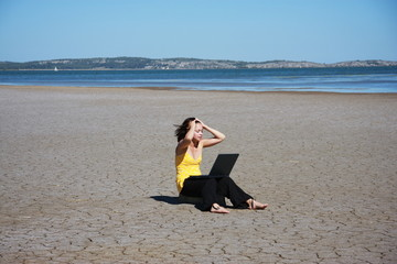 Young Woman with her computer