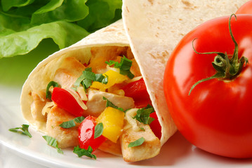 Burrito with chicken and vegetables