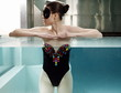 Woman portrait  in spa  swimming pool