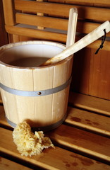 Water bucket with ladle in a sauna