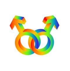 Male Symbols (interlinked) (rainbow)