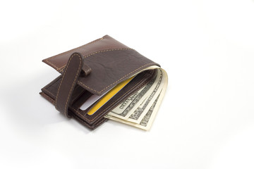 Leather Wallet and currency