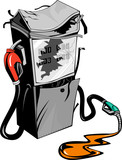 Broken gasoline pump poster