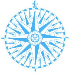 Compass wind rose with  Fleur-De-Lys and sun face in center