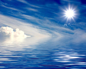beautiful sun over clouds and water