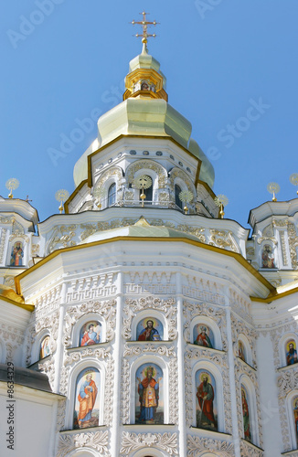 orthodox church over blue sky background