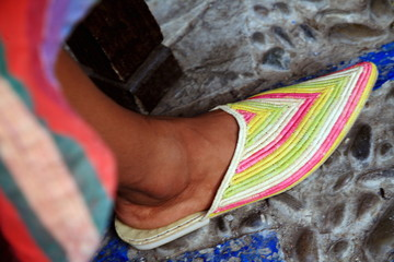 Woman's foot with Moroccan slipper