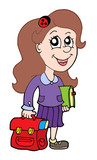 Pupil with schoolbag poster