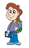 Pupil boy with school bag poster