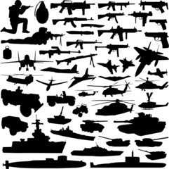 collection of military objects vector