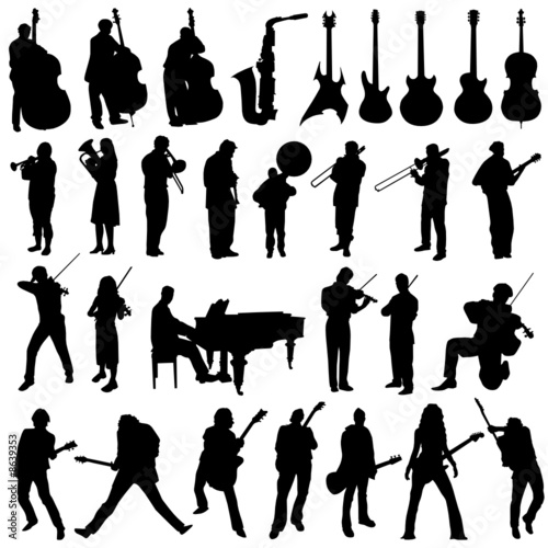 collection of musician and music object vector