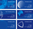 Business cards, blue series. Text is in the separate layer