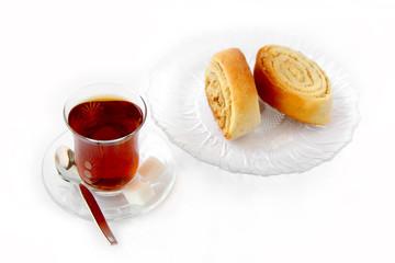 Tea with cookie rolls