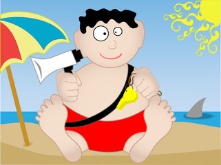 Lifeguard sitting on beach  - Vector