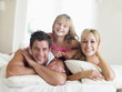 Family lying in bed smiling