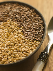 Dish of Golden and Brown Linseed