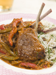 Lamb Cutlet Jalfrezi with Fragrant Pilau and Indian Beer