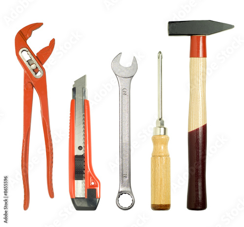 different tools, isolated on white