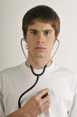 Young male adult with stethoscope