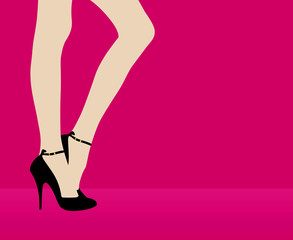 Woman's leg on pink background