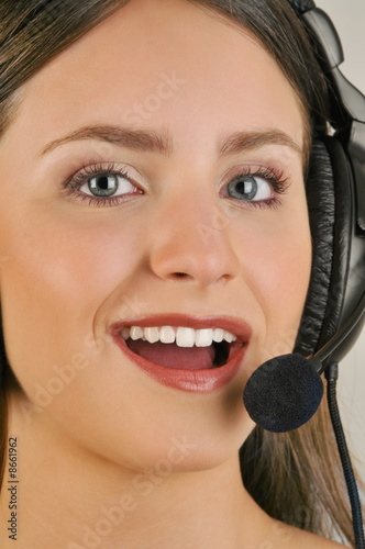 Female young adult with microphone headset