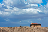 Thatched hut landscape, Kalahari, South Africa poster