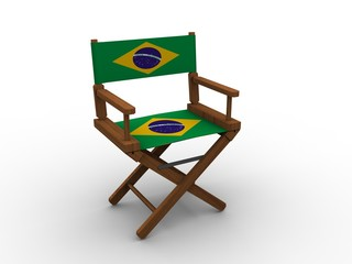 Chair with flag of Brazil