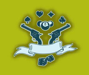 Vector stylish wallpaper with guns and ribbon