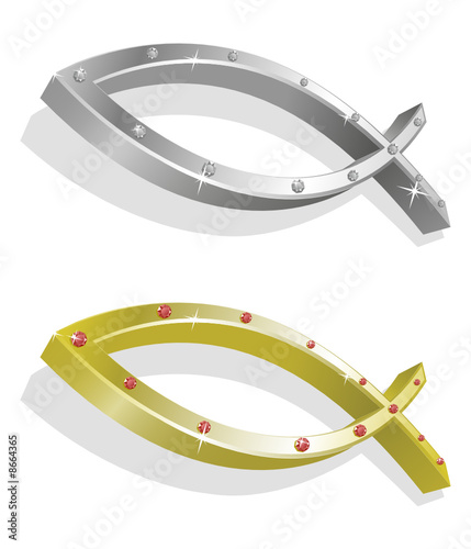 Vector illustration of golden and silver icthus