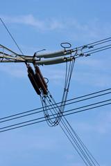 Electricity pylon wire close up
