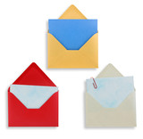 Assorted open envelopes isolated, path provided. poster