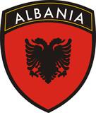albania vector crest flag poster