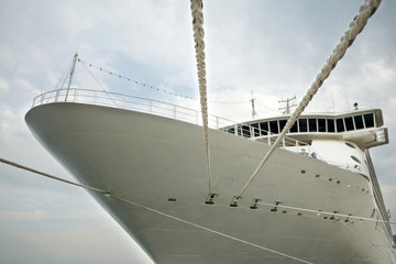 Front view of modern cruise liner