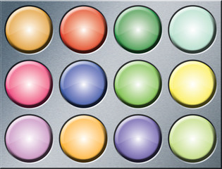 Colored buttons/lights on a metal background