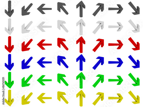 3D Arrows, different directions, multicoloured