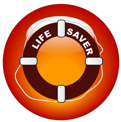 red icon or button for  life preserver with words life saver..