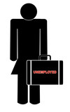woman holding briefcase with the words - unemployed poster