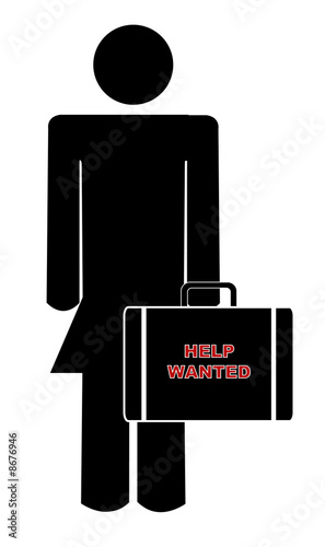 woman holding briefcase with sign saying help wanted