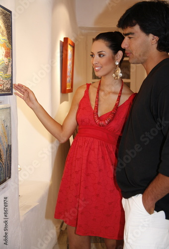 Young couple in an art gallery