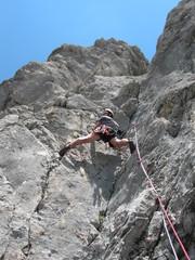 Kletterer in der Verschneidung