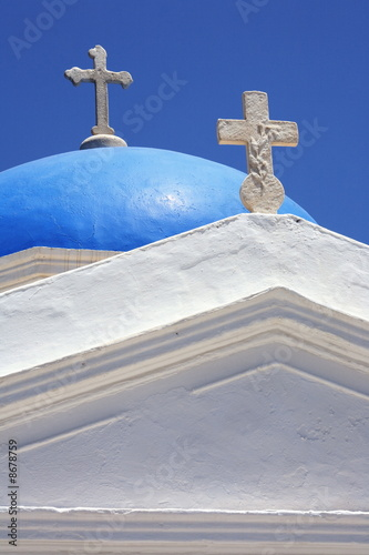 Closeup of church dome with crosses