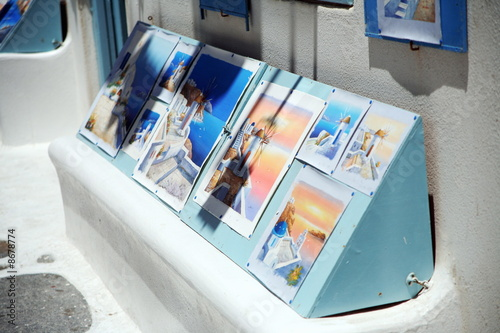 Store selling Greek island watercolors