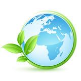Fototapety planète terre bleue et feuilles