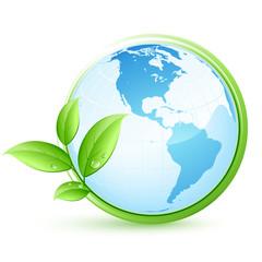 planète terre bleue et feuilles