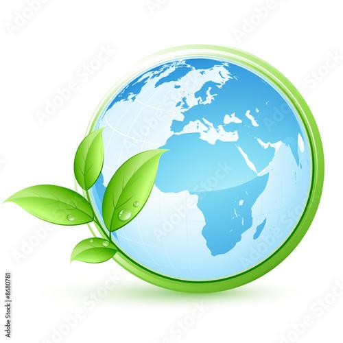 niebieska planeta Ziemia i liście